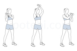 Dumbbell shoulder to shoulder press exercise guide with instructions, demonstration, calories burned and muscles worked. Learn proper form, discover all health benefits and choose a workout. http://www.spotebi.com/exercise-guide/dumbbell-shoulder-to-shoulder-press/