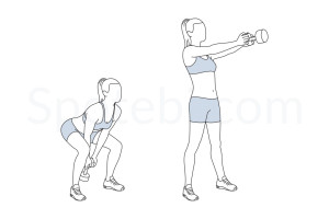 Dumbbell swing exercise guide with instructions, demonstration, calories burned and muscles worked. Learn proper form, discover all health benefits and choose a workout. http://www.spotebi.com/exercise-guide/dumbbell-swing/
