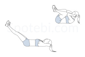 Frog crunches exercise guide with instructions, demonstration, calories burned and muscles worked. Learn proper form, discover all health benefits and choose a workout. http://www.spotebi.com/exercise-guide/frog-crunches/