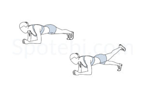Plank leg lifts exercise guide with instructions, demonstration, calories burned and muscles worked. Learn proper form, discover all health benefits and choose a workout. http://www.spotebi.com/exercise-guide/plank-leg-lifts/