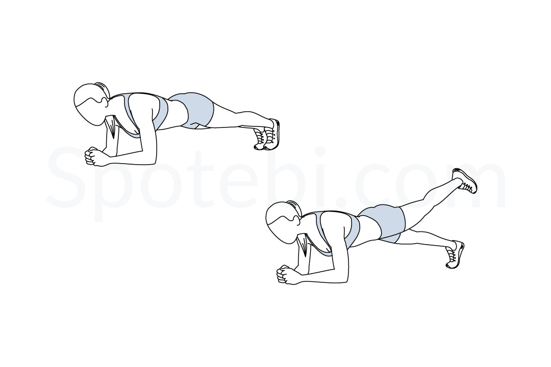 Plank leg lifts exercise guide with instructions, demonstration, calories burned and muscles worked. Learn proper form, discover all health benefits and choose a workout. https://www.spotebi.com/exercise-guide/plank-leg-lifts/