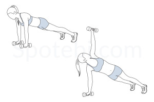 Plank rotation exercise guide with instructions, demonstration, calories burned and muscles worked. Learn proper form, discover all health benefits and choose a workout. https://www.spotebi.com/exercise-guide/plank-rotation/