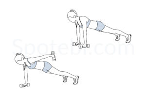 Plank straight arm kickback exercise guide with instructions, demonstration, calories burned and muscles worked. Learn proper form, discover all health benefits and choose a workout. http://www.spotebi.com/exercise-guide/plank-straight-arm-kickback/