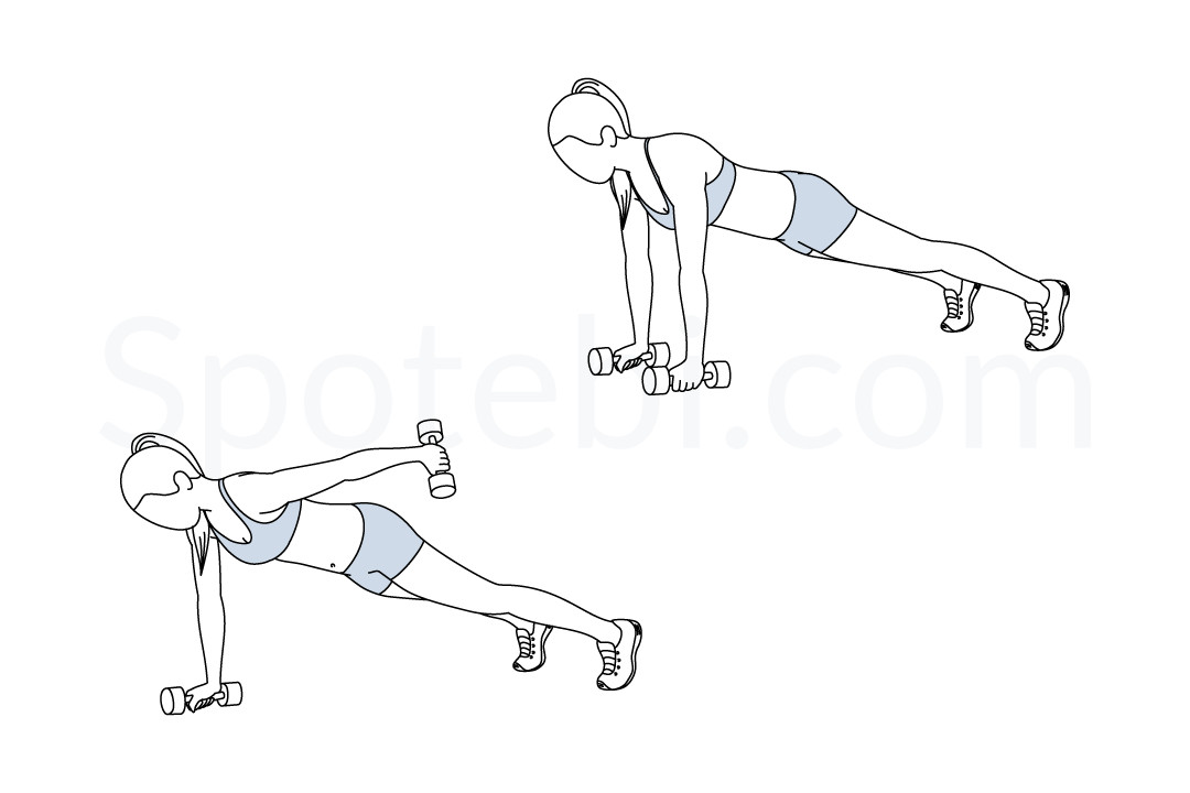 Plank straight arm kickback exercise guide with instructions, demonstration, calories burned and muscles worked. Learn proper form, discover all health benefits and choose a workout. https://www.spotebi.com/exercise-guide/plank-straight-arm-kickback/