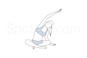 Seated side bend pose (Parsva Sukhasana) instructions, illustration and mindfulness practice. Learn about preparatory, complementary and follow-up poses, and discover all health benefits. https://www.spotebi.com/exercise-guide/parsva-sukhasana/