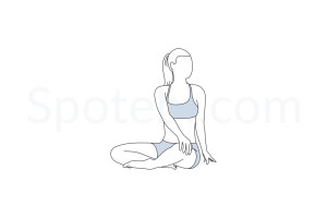 Seated spinal twist pose (Parivrtta Sukhasana) instructions, illustration and mindfulness practice. Learn about preparatory, complementary and follow-up poses, and discover all health benefits. https://www.spotebi.com/exercise-guide/parivrtta-sukhasana/