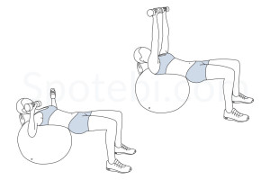 Stability ball chest press exercise guide with instructions, demonstration, calories burned and muscles worked. Learn proper form, discover all health benefits and choose a workout. http://www.spotebi.com/exercise-guide/stability-ball-chest-press/