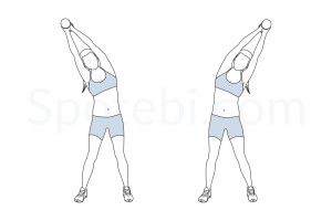 Standing side bend exercise guide with instructions, demonstration, calories burned and muscles worked. Learn proper form, discover all health benefits and choose a workout. http://www.spotebi.com/exercise-guide/standing-side-bend/