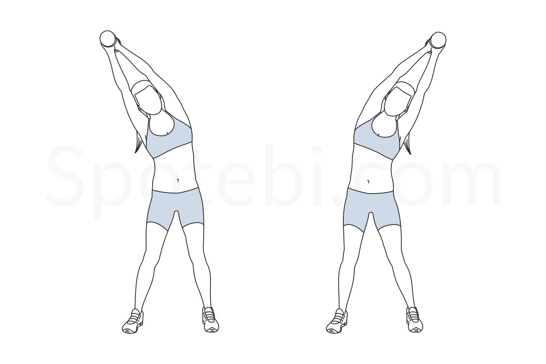 Standing side bend exercise guide with instructions, demonstration, calories burned and muscles worked. Learn proper form, discover all health benefits and choose a workout. https://www.spotebi.com/exercise-guide/standing-side-bend/
