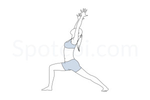 Warrior I pose (Virabhadrasana I) instructions, illustration and mindfulness practice. Learn about preparatory, complementary and follow-up poses, and discover all health benefits. http://www.spotebi.com/exercise-guide/warrior-i-pose/