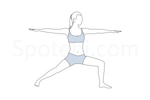Warrior II pose (Virabhadrasana II) instructions, illustration and mindfulness practice. Learn about preparatory, complementary and follow-up poses, and discover all health benefits. http://www.spotebi.com/exercise-guide/warrior-ii-pose/