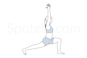 Crescent lunge pose (Anjaneyasana) instructions, illustration and mindfulness practice. Learn about preparatory, complementary and follow-up poses, and discover all health benefits. http://www.spotebi.com/exercise-guide/crescent-lunge-pose/