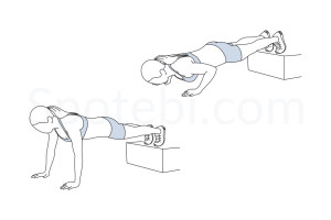 Decline push up exercise guide with instructions, demonstration, calories burned and muscles worked. Learn proper form, discover all health benefits and choose a workout. https://www.spotebi.com/exercise-guide/decline-push-up/