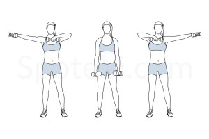 Dumbbell side swings exercise guide with instructions, demonstration, calories burned and muscles worked. Learn proper form, discover all health benefits and choose a workout. http://www.spotebi.com/exercise-guide/dumbbell-side-swings/