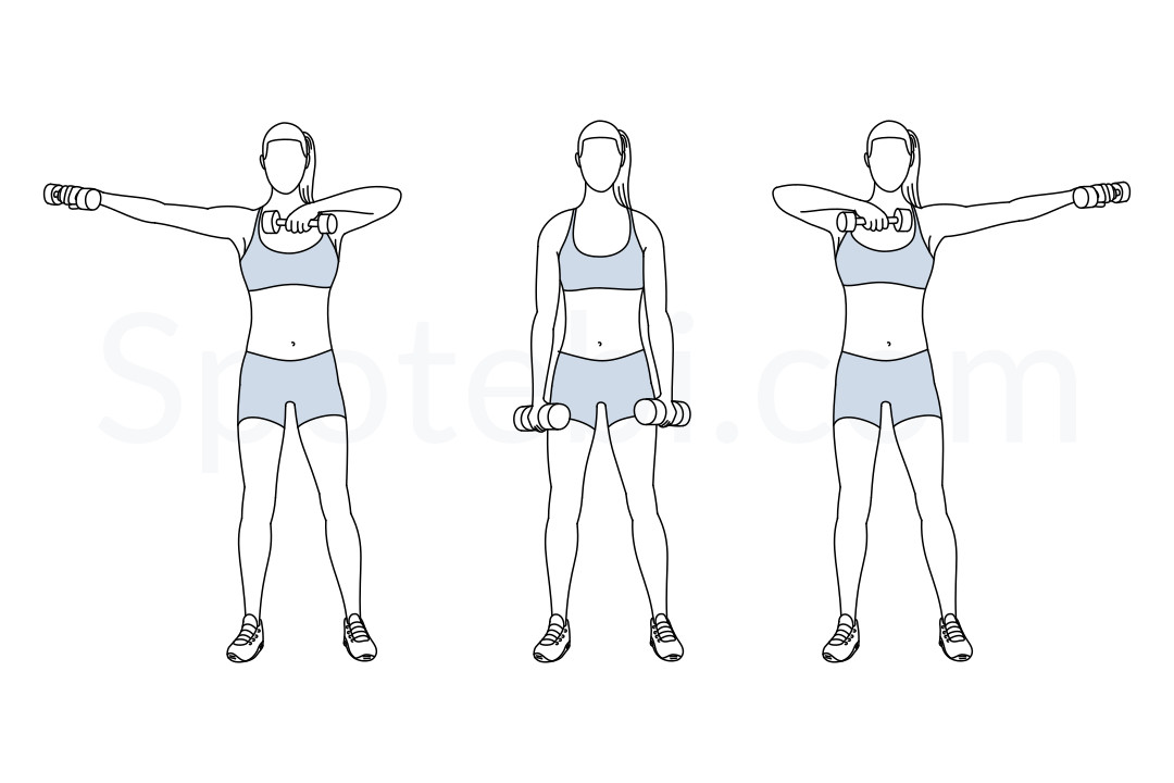 Dumbbell side swings exercise guide with instructions, demonstration, calories burned and muscles worked. Learn proper form, discover all health benefits and choose a workout. https://www.spotebi.com/exercise-guide/dumbbell-side-swings/
