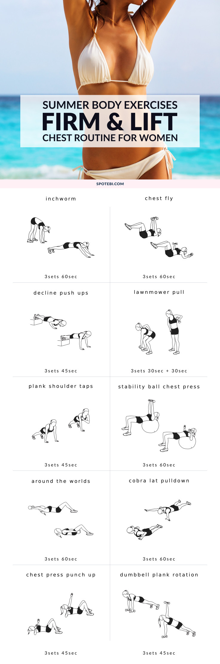 Firm your breasts and give your bust line a lift with this killer chest workout for women. 10 at-home moves to strengthen your pec muscles and help you enhance your cleavage, just in time for summer! https://www.spotebi.com/workout-routines/firm-and-lift-your-breasts-chest-workout-for-women/