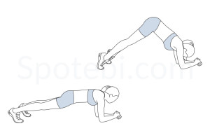 Inverted V plank exercise guide with instructions, demonstration, calories burned and muscles worked. Learn proper form, discover all health benefits and choose a workout. http://www.spotebi.com/exercise-guide/inverted-v-plank/