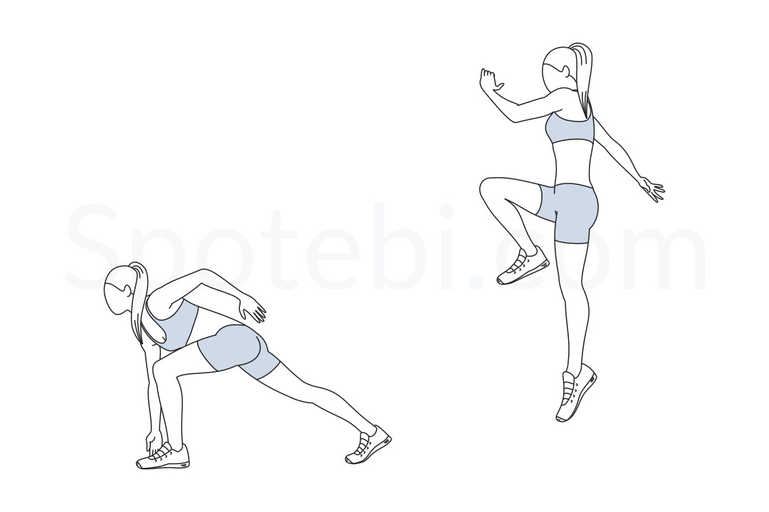 Jump start exercise guide with instructions, demonstration, calories burned and muscles worked. Learn proper form, discover all health benefits and choose a workout. https://www.spotebi.com/exercise-guide/jump-start/
