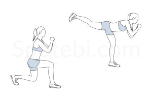Lunge back kick exercise guide with instructions, demonstration, calories burned and muscles worked. Learn proper form, discover all health benefits and choose a workout. http://www.spotebi.com/exercise-guide/lunge-back-kick/