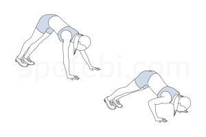 Pike push up exercise guide with instructions, demonstration, calories burned and muscles worked. Learn proper form, discover all health benefits and choose a workout. http://www.spotebi.com/exercise-guide/pike-push-up/