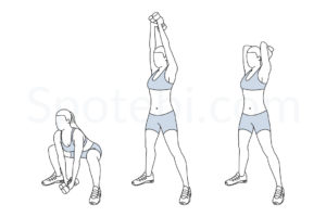 Squat with overhead tricep extension exercise guide with instructions, demonstration, calories burned and muscles worked. Learn proper form, discover all health benefits and choose a workout. https://www.spotebi.com/exercise-guide/squat-overhead-tricep-extension/