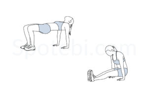 Tabletop reverse pike exercise guide with instructions, demonstration, calories burned and muscles worked. Learn proper form, discover all health benefits and choose a workout. http://www.spotebi.com/exercise-guide/tabletop-reverse-pike/