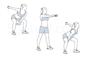 Alternating dumbbell swing exercise guide with instructions, demonstration, calories burned and muscles worked. Learn proper form, discover all health benefits and choose a workout. http://www.spotebi.com/exercise-guide/alternating-dumbbell-swing/