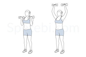 Arnold shoulder press exercise guide with instructions, demonstration, calories burned and muscles worked. Learn proper form, discover all health benefits and choose a workout. https://www.spotebi.com/exercise-guide/arnold-shoulder-press/