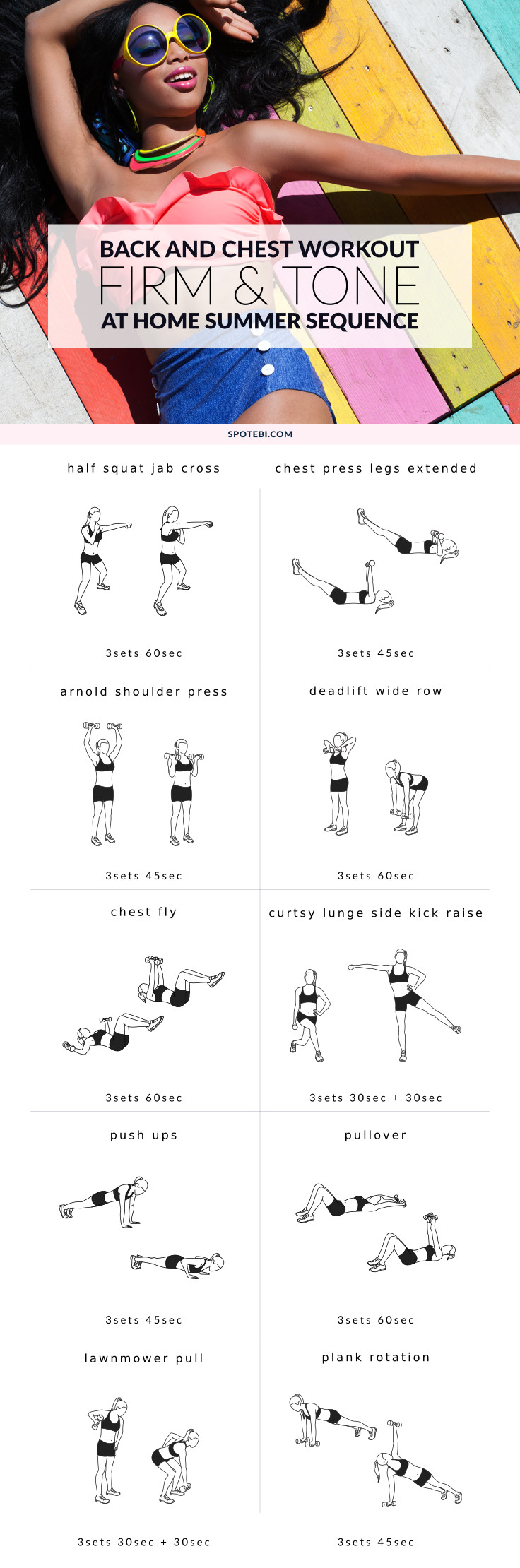 Grab a set of dumbbells and take thirty minutes to sculpt some seriously sexy chest and back! This upper body workout will help you firm up your chest, improve your posture and get a sleek, toned back. https://www.spotebi.com/workout-routines/chest-back-bikini-body-workout-women/