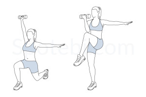 Core control rear lunge exercise guide with instructions, demonstration, calories burned and muscles worked. Learn proper form, discover all health benefits and choose a workout. http://www.spotebi.com/exercise-guide/core-control-rear-lunge/