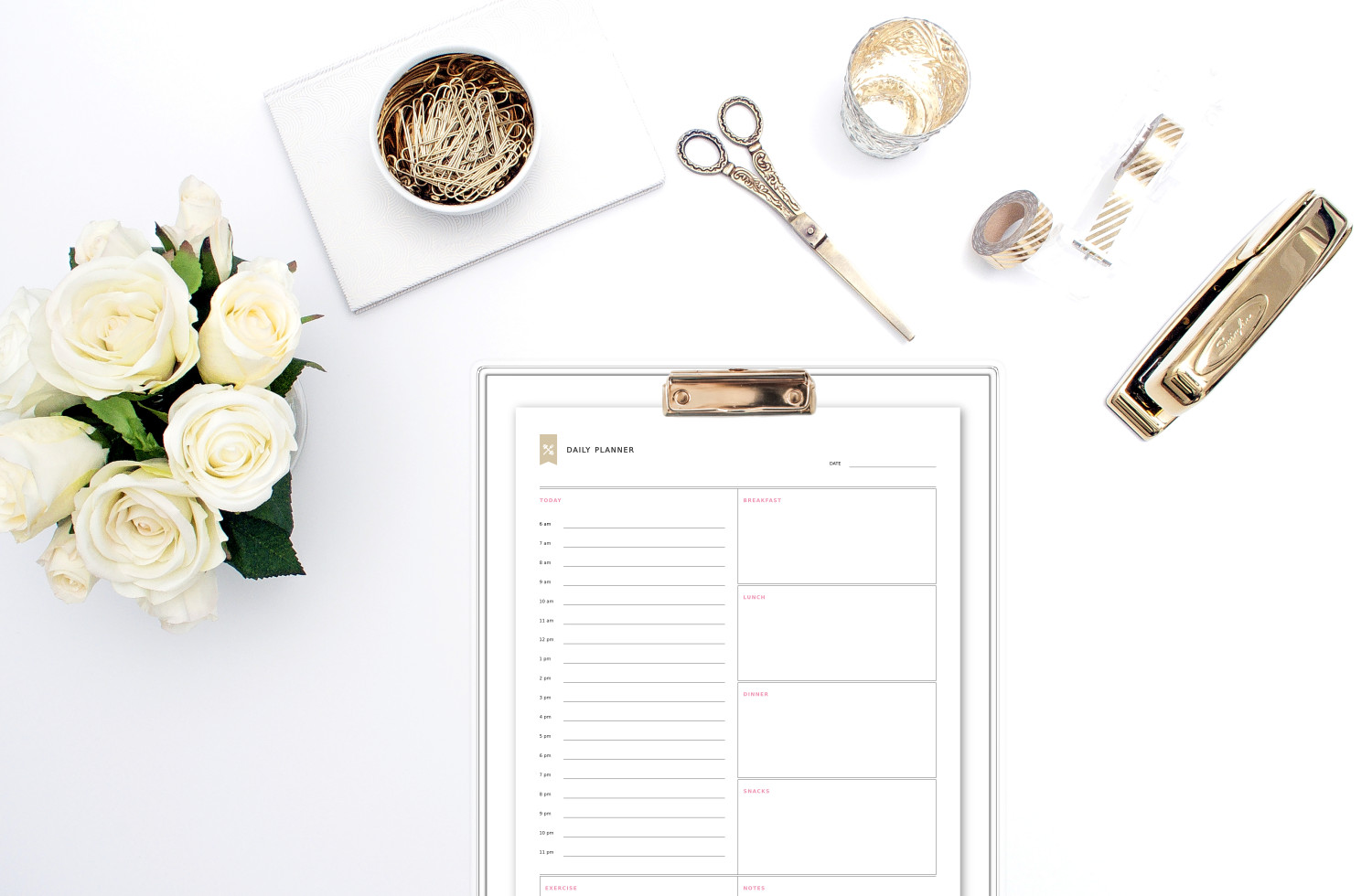 Planning our day the night before helps us be more productive and makes our everyday lives much more manageable and enjoyable. Download and print our daily planner template and be more present in your life! https://www.spotebi.com/fitness-tracker/daily-planner-template/