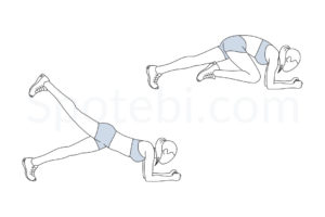 Knee to elbow kickback exercise guide with instructions, demonstration, calories burned and muscles worked. Learn proper form, discover all health benefits and choose a workout. https://www.spotebi.com/exercise-guide/knee-to-elbow-kickback/