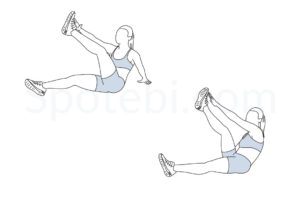 Star toe touch sit ups exercise guide with instructions, demonstration, calories burned and muscles worked. Learn proper form, discover all health benefits and choose a workout. https://www.spotebi.com/exercise-guide/star-toe-touch-sit-ups/