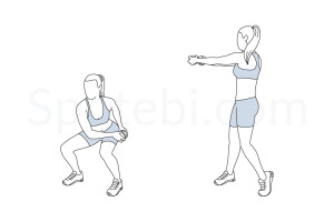 Waist slimmer squat exercise guide with instructions, demonstration, calories burned and muscles worked. Learn proper form, discover all health benefits and choose a workout. http://www.spotebi.com/exercise-guide/waist-slimmer-squat/