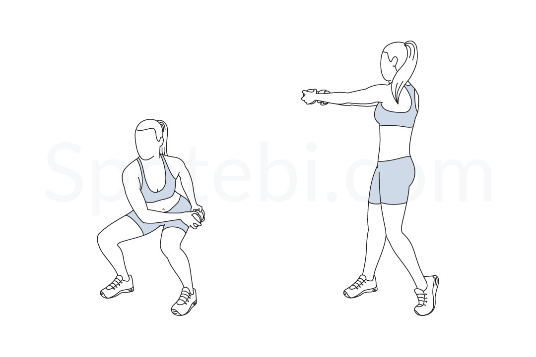 Waist slimmer squat exercise guide with instructions, demonstration, calories burned and muscles worked. Learn proper form, discover all health benefits and choose a workout. https://www.spotebi.com/exercise-guide/waist-slimmer-squat/