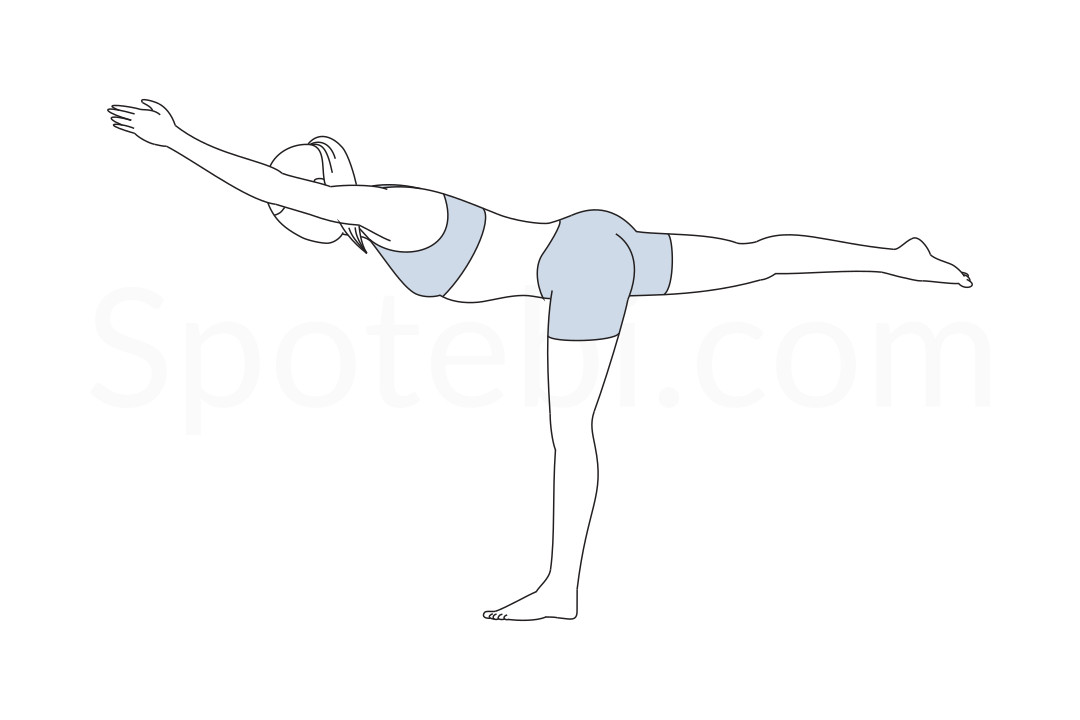 Warrior III pose (Virabhadrasana III) instructions, illustration and mindfulness practice. Learn about preparatory, complementary and follow-up poses, and discover all health benefits. https://www.spotebi.com/exercise-guide/warrior-iii-pose/
