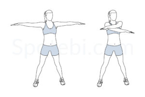 Arm swings exercise guide with instructions, demonstration, calories burned and muscles worked. Learn proper form, discover all health benefits and choose a workout. http://www.spotebi.com/exercise-guide/arm-swings/