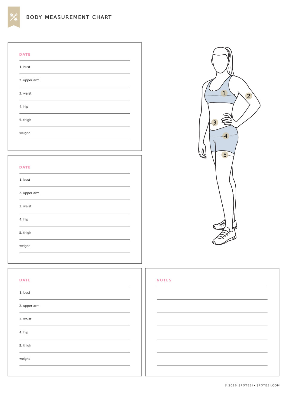 Print our free body measurement chart and measure each body part every ...