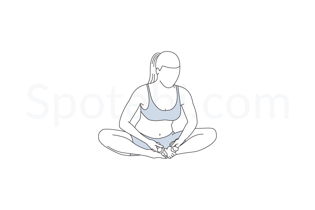 Bound angle pose (Baddha Konasana) instructions, illustration, and mindfulness practice. Learn about preparatory, complementary and follow-up poses, and discover all health benefits. https://www.spotebi.com/exercise-guide/bound-angle-pose/