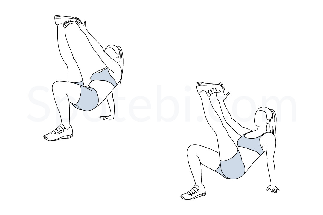Crab toe touches exercise guide with instructions, demonstration, calories burned and muscles worked. Learn proper form, discover all health benefits and choose a workout. https://www.spotebi.com/exercise-guide/crab-toe-touches/
