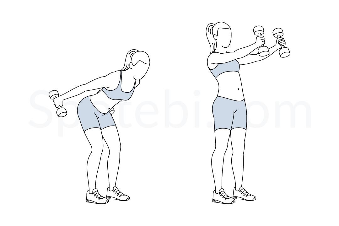 Dumbbell Skier Swing Illustrated Exercise Guide