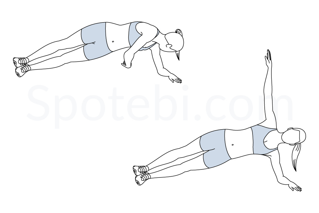 Side Plank Rotation Illustrated Exercise Guide