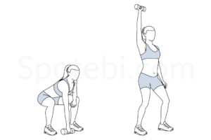 Single arm dumbbell snatch exercise guide with instructions, demonstration, calories burned and muscles worked. Learn proper form, discover all health benefits and choose a workout. https://www.spotebi.com/exercise-guide/single-arm-dumbbell-snatch/