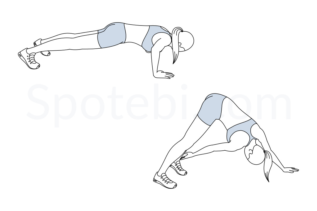 Ankle tap push ups exercise guide with instructions, demonstration, calories burned and muscles worked. Learn proper form, discover all health benefits and choose a workout. https://www.spotebi.com/exercise-guide/ankle-tap-push-ups/