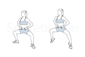 Plie squat calf raise exercise guide with instructions, demonstration, calories burned and muscles worked. Learn proper form, discover all health benefits and choose a workout. https://www.spotebi.com/exercise-guide/plie-squat-calf-raise/