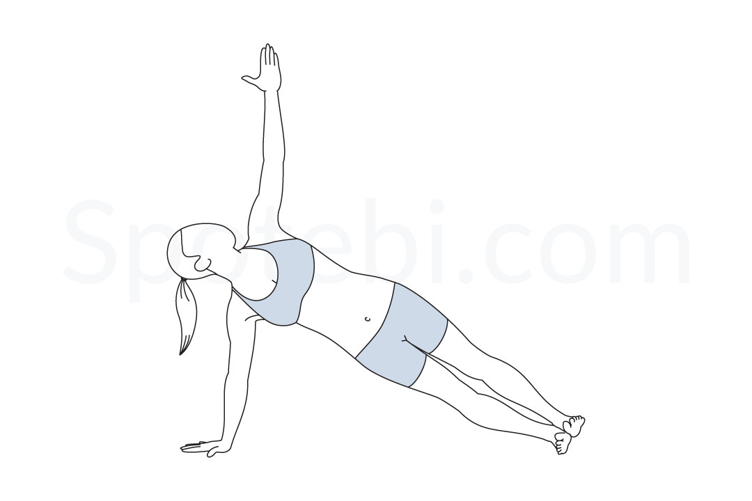 Side plank pose (Vasisthasana) instructions, illustration, and mindfulness practice. Learn about preparatory, complementary and follow-up poses, and discover all health benefits. https://www.spotebi.com/exercise-guide/side-plank-pose/