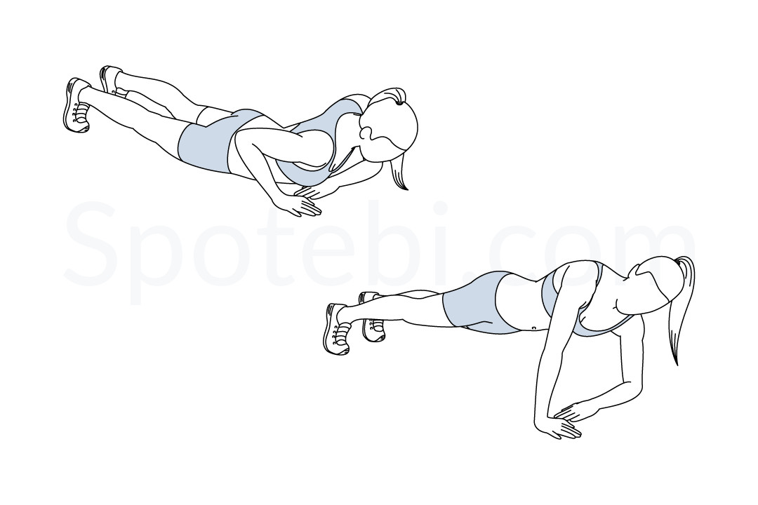 Asymmetrical push up exercise guide with instructions, demonstration, calories burned and muscles worked. Learn proper form, discover all health benefits and choose a workout. https://www.spotebi.com/exercise-guide/asymmetrical-push-up/