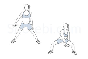 Figure 8 squat exercise guide with instructions, demonstration, calories burned and muscles worked. Learn proper form, discover all health benefits and choose a workout. http://www.spotebi.com/exercise-guide/figure-8-squat/