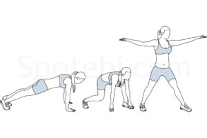 Surfer burpees exercise guide with instructions, demonstration, calories burned and muscles worked. Learn proper form, discover all health benefits and choose a workout. http://www.spotebi.com/exercise-guide/surfer-burpees/