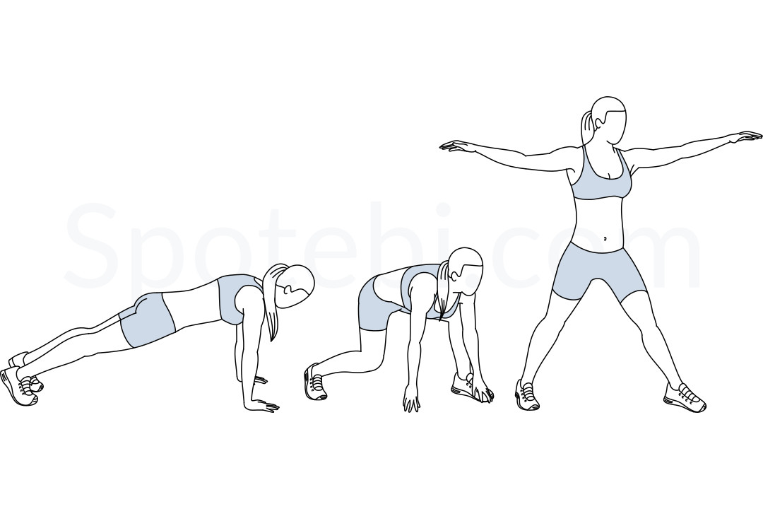Surfer burpees exercise guide with instructions, demonstration, calories burned and muscles worked. Learn proper form, discover all health benefits and choose a workout. https://www.spotebi.com/exercise-guide/surfer-burpees/